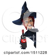 Clipart Of A 3d Sexy Blue Witch Holding A Wine Bottle On A White Background Royalty Free Illustration