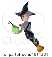 Clipart Of A 3d Sexy Blue Witch Holding A Gas Can On A White Background Royalty Free Illustration