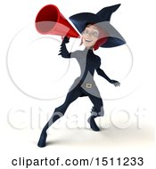 Clipart Of A 3d Sexy Blue Witch Using A Megaphone On A White Background Royalty Free Illustration