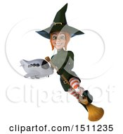 Clipart Of A 3d Sexy Green Witch Holding A Plane On A White Background Royalty Free Illustration