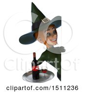 Clipart Of A 3d Sexy Green Witch Holding A Wine Tray On A White Background Royalty Free Illustration