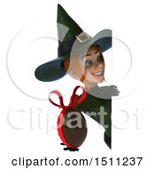 Clipart Of A 3d Sexy Green Witch Holding A Chocolate Egg On A White Background Royalty Free Illustration