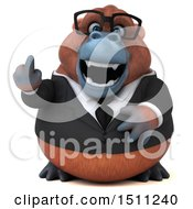 3d Business Orangutan Monkey Holding Up A Middle Finger On A White Background