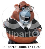 3d Business Orangutan Monkey Giving A Thumb Up On A White Background