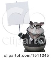 Clipart Of A 3d Business Reggie Rhinoceros Holding A Sign On A White Background Royalty Free Illustration by Julos