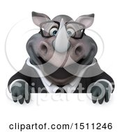 Clipart Of A 3d Business Reggie Rhinoceros On A White Background Royalty Free Illustration by Julos