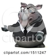 Clipart Of A 3d Business Reggie Rhinoceros Presenting On A White Background Royalty Free Illustration by Julos