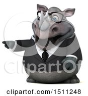 Clipart Of A 3d Business Reggie Rhinoceros Pointing On A White Background Royalty Free Illustration