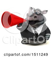Clipart Of A 3d Business Reggie Rhinoceros Using A Megaphone On A White Background Royalty Free Illustration by Julos