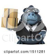 Clipart Of A 3d Gorilla Mascot Holding Boxes On A White Background Royalty Free Illustration