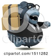 3d Gorilla Mascot Holding Boxes On A White Background