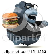 3d Gorilla Mascot Holding A Burger On A White Background