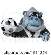 3d Gorilla Mascot Holding A Soccer Ball On A White Background