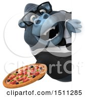 3d Gorilla Mascot Holding A Pizza On A White Background