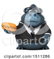 3d Gorilla Mascot Holding A Hot Dog On A White Background