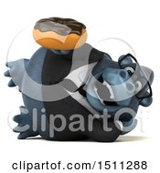 Clipart Of A 3d Gorilla Mascot Holding A Donut On A White Background Royalty Free Illustration