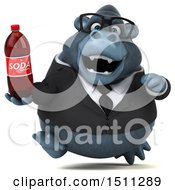 Clipart Of A 3d Gorilla Mascot Holding A Soda On A White Background Royalty Free Illustration