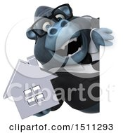 Clipart Of A 3d Gorilla Mascot Holding A House On A White Background Royalty Free Illustration