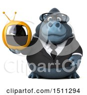 Clipart Of A 3d Gorilla Mascot Holding A Tv On A White Background Royalty Free Illustration