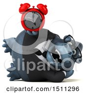 Clipart Of A 3d Gorilla Mascot Holding An Alarm Clock On A White Background Royalty Free Illustration