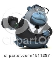 Clipart Of A 3d Gorilla Mascot Holding A Camera On A White Background Royalty Free Illustration