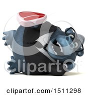 Clipart Of A 3d Gorilla Mascot Holding A Steak On A White Background Royalty Free Illustration