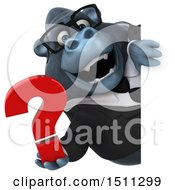 Clipart Of A 3d Gorilla Mascot Holding A Question Mark On A White Background Royalty Free Illustration