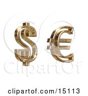 Golden American Dollar And Euro Symbols On A White Background Clipart Illustration