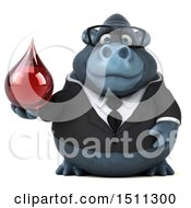 Clipart Of A 3d Gorilla Mascot Holding A Blood Drop On A White Background Royalty Free Illustration