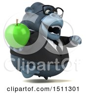 Clipart Of A 3d Gorilla Mascot Holding An Apple On A White Background Royalty Free Illustration