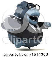Clipart Of A 3d Gorilla Mascot Holding A Cloud On A White Background Royalty Free Illustration
