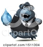 Clipart Of A 3d Gorilla Mascot Holding A Water Drop On A White Background Royalty Free Illustration