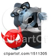 Clipart Of A 3d Gorilla Mascot Holding A Devil On A White Background Royalty Free Illustration