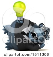 Clipart Of A 3d Gorilla Mascot Holding A Light Bulb On A White Background Royalty Free Illustration