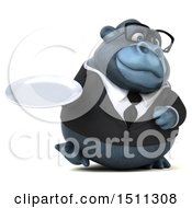 Clipart Of A 3d Gorilla Mascot Holding A Plate On A White Background Royalty Free Illustration