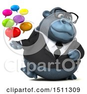 Clipart Of A 3d Gorilla Mascot Holding Messages On A White Background Royalty Free Illustration