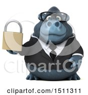 Clipart Of A 3d Gorilla Mascot Holding A Padlock On A White Background Royalty Free Illustration