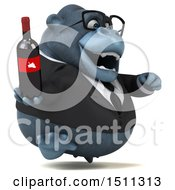 Clipart Of A 3d Gorilla Mascot Holding A Wine Bottle On A White Background Royalty Free Illustration