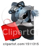 Clipart Of A 3d Gorilla Mascot Holding A Shopping Bag On A White Background Royalty Free Illustration