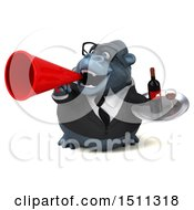 Clipart Of A 3d Gorilla Mascot Holding A Wine Tray On A White Background Royalty Free Illustration