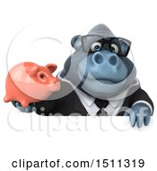 Clipart Of A 3d Gorilla Mascot Holding A Piggy Bank On A White Background Royalty Free Illustration