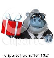 Clipart Of A 3d Gorilla Mascot Holding A Gift On A White Background Royalty Free Illustration