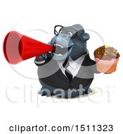 Clipart Of A 3d Gorilla Mascot Holding A Cupcake On A White Background Royalty Free Illustration