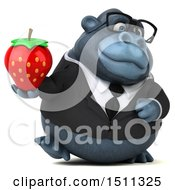 Clipart Of A 3d Gorilla Mascot Holding A Strawberry On A White Background Royalty Free Illustration