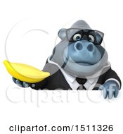 Clipart Of A 3d Gorilla Mascot Holding A Banana On A White Background Royalty Free Illustration