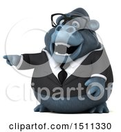 Clipart Of A 3d Gorilla Mascot Pointing On A White Background Royalty Free Illustration