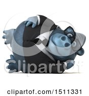 Clipart Of A 3d Gorilla Mascot Resting On A White Background Royalty Free Illustration