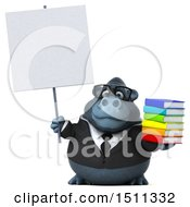 Clipart Of A 3d Gorilla Mascot Holding Books On A White Background Royalty Free Illustration