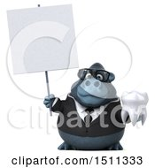 Clipart Of A 3d Gorilla Mascot Holding A Tooth On A White Background Royalty Free Illustration