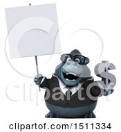 Clipart Of A 3d Gorilla Mascot Holding A Dollar Sign On A White Background Royalty Free Illustration
